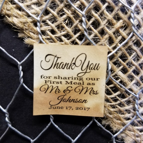 """Thank You For Sharing our First Meal As Mr and Mrs 1"""" square STICKER Personalized Wedding Engagement Shower Favor STICKER choose your amount"""