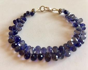 Iolite Gemstone Beaded Bracelet-Iolite Jewelry