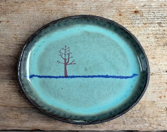 Green Oval Winter Tree Side Plate