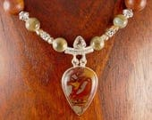 Noreena Jasper and Sterling Pendant Necklace