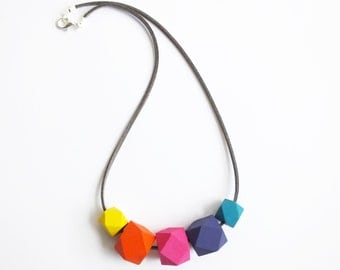Hexagon necklace rainbow bright geometric hand painted gift for her