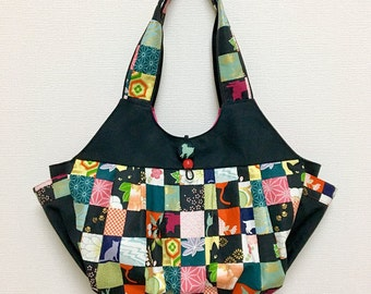 Fabric Shoulder Bag / Fabric Granny Bag / Cat Print bag --- Kimono Cat - Red