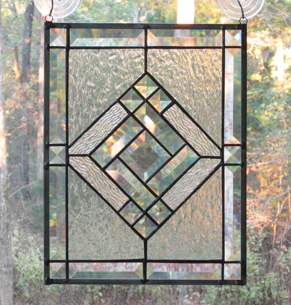 Clear Leaded Glass : Stained glass panel clear with beveled center