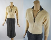 Vintage 1950s Skirt and Sweater Gray and Cream Wool Knit by Kimberly Sz S