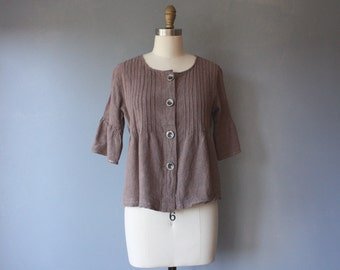 vintage 90s linen blouse / brown button down shirt / empire waist blouse / small
