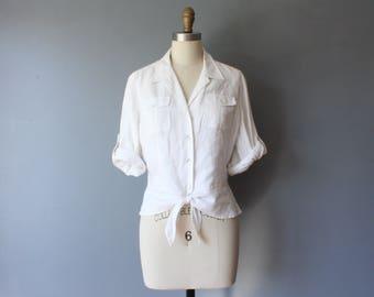 vintage waist tie blouse / white linen blouse / button down blouse