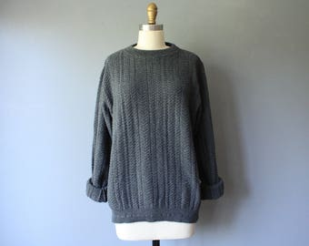 vintage oscar de la renta sweater / grey cable knit sweater / slouchy cotton sweater / mens sweater