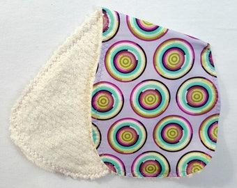 Girl Burp Cloth - Contoured Purple Tula Pink Fabric