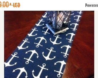 ON SALE NOW Navy White Anchor Table Runner or Napkin or Placemat,  sailor runner,  Nautical, Beach, Wedding Bridal, Shower,