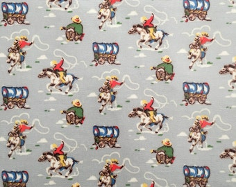 4429 - Cath Kidston Cowboy (Light Grey) Oilcloth Waterproof Fabric - 28 Inch (Width) x 17 Inch (Length)