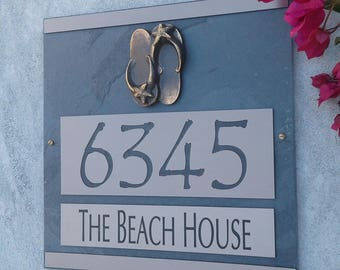 Beach Flip Flops Address Plaque Coastal House Numbers