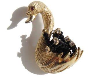 Vintage HAR Swan Brooch Beaded Feathers & Rose Montee Rhinestone Pin