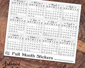 Month Blocks 2017 and Weekday Headers Planner Stickers