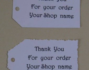 Custom personalized thank you for your order,your shop name-Tags-straight or deckle edge tags