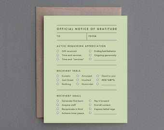 """Funny Thank You Card. Funny Thanks Card. Thanx. Sarcastic, Snarky, Alternative. Humor. Thank You Greeting.  """"Notice of Gratitude"""" (CA005)"""