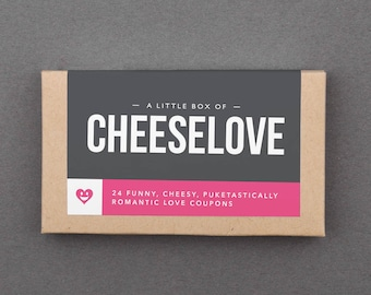 """Funny Stocking Stuffer. Humorous, Hilarious Gift for Boyfriend, Girlfriend, Husband, Wife, Couple. Love Coupons. Sarcastic. """"Cheesy"""" (L2CHZ)"""