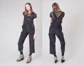 OVERALLS black CORDUROY vintage 90s Women Gitano capris / Small Xs / better Stay together