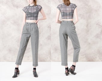 RALPH LAUREN high waist WOOL slacks Pants grey women trousers Cuffed pleated minimal classic / Size 2 4 / 25 waist / better Stay together