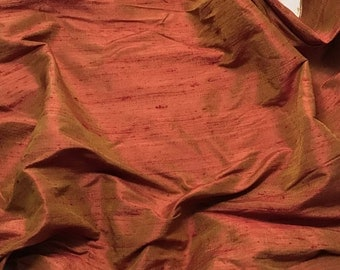 Golden Red Silk DUPIONI Fabric - fat 1/4