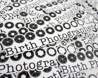 """Vinyl """"Birth Photographer"""" Aperture Indoor/Outdoor Sticker 7.5"""""""