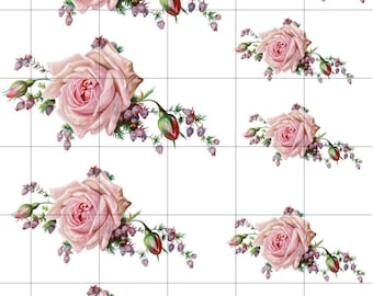 PINK LAVENDER Cluster ROSES Waterslide Decal.  Decal Sheet 8.5  x 11 inches. Assorted Sizes