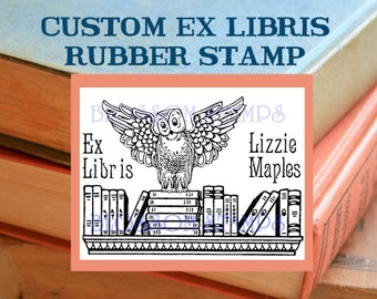 Custom Owl Ex Libris Bookplate Rubber Stamp - Maple Wood Mount - Handmade by Blossom Stamps