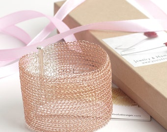 Rose Gold CUFF Bracelet, Luxury Bracelet, Glamorous Rose Bracelet, Wire Crochet Jewelry, Rose Gold jewelry, Gift for her, Unique Bracelet