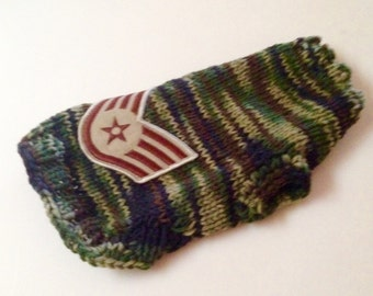 XS- Hand Knit- Camo- Military Dog Sweater- Chihuahua -Small Dog Pet Clothes-Chihuahua