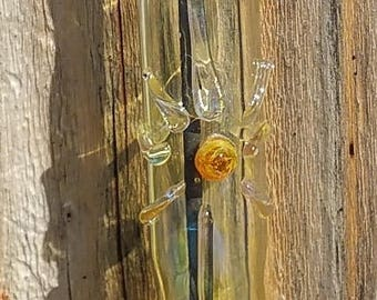 Hand Crafted Hanging Glass Incense Burner with Amber Center Sunburst Symbol K