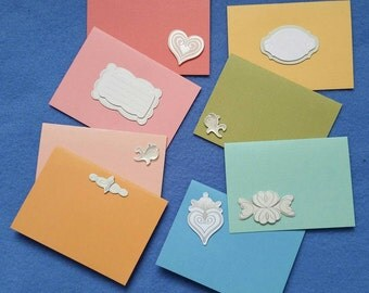 Eight Rainbow Mini Cards Gift Tags with dimensional metallic pastel embellishments