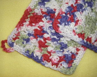 Three Bumpy Cotton Washcloths Dishcloths, handmade crochet washcloth set, Field of Dreams