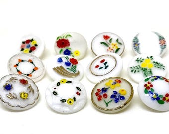 Group Of 12 Modern Glass Buttons With Hand Painted Flowers