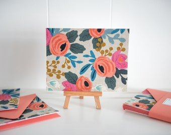 Rosa Flora - Fabric Note Cards - Rifle Paper Co - Les Fleurs - Cotton + Steel // Note Cards // Stationery // Thank You Cards //
