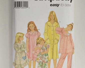 2000s UNCUT Simplicity Sewing Pattern 5941 Childrens Girls Sleepwear, Pajamas, Nightgown & Robe w/ Heart Pockets Size 7,8,10,12,14