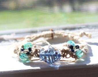 Blue Glass Fish Hemp Bracelet Adjustable
