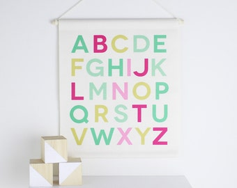 Alphabet Letters, Girls Nursery Banner, Kids Banner, Kids Room Decor, Girls Room Art, Girls Nursery Decor, Kids Wall Art, Watermelon Banner