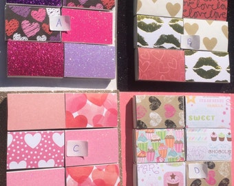 10 Valentines Matchbox Party Favors Love Hearts Romance Purple Pink Lavender White Rose