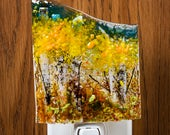 Fused Glass Nightlight - BluDragonfly SRA - Fall Scene - Nightlight