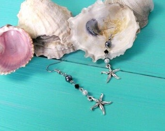 starfish earrings - black, white & grey bead earrings, mermaid earrings, starfish charm earrings, mermaid accessory