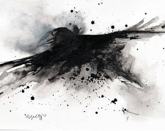 Crow painting - Ink on 8x12in canvas, A4, 20x30cm - abstract flying monster crow 2