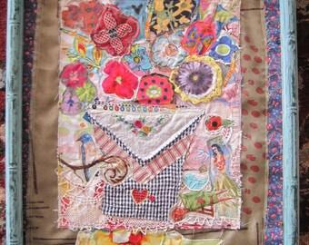 GARDEN DANCE Fabric Collage Art - Vintage Linens -  Cottage Garden Floral & Birds --mybonny random scraps