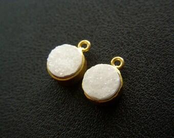 White Druzy 18K Gold Vermeil Charms - Pair - 9mm
