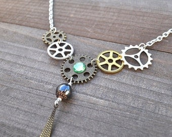 50% OFF Steam Punk Watch Gear Clock Gears Necklace Green Crystal Artisan Victorian Inspired Metalwork