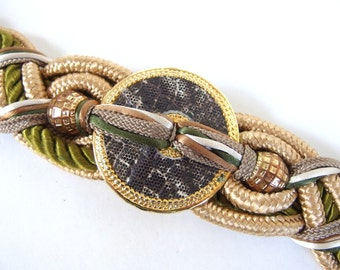 Vintage 1980's Braided Earth Tones Chunky Obi Belt with Snakeskin Medallion, Size 10 to 14, Medium to Large