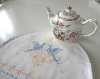 Vintage Tea Cozy Cosy Doves Love Birds Heart Cross Stitched Hand Embroidered on Natural Linen - EnglishPreserves