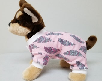 Dog Clothes Pink Feather Pajamas, Chihuahua, Yorkie
