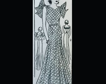 Vintage 30s Bow Trimmed Butterfly Sleeve Bias Evening Gown Formal Dress REPRO Sewing Pattern  111 Multi-sized