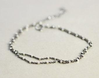 Oxidized Silver Chain Bracelet, Two Tone Bracelet, Double Strand, Minimal