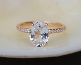 Blake Lively ring White Sapphire Engagement Ring oval cut 14k rose gold diamond ring 2.3ct White sapphire ring