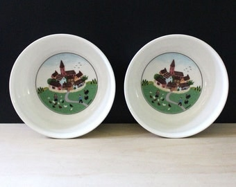 Laplau cereal bowls, Villeroy and Boch Design Naif. VITRO porcelain. French village scenes.